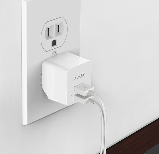This AUKEY Dual USB Wall Charger with Foldable Plug is Just $5